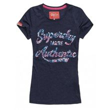 Superdry Damen T-Shirt Gr. M, Dark Blue