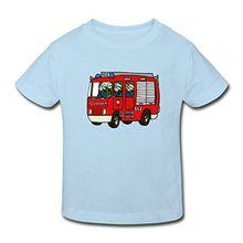 Spreadshirt Feuerwehrauto Kinder Bio-T-Shirt, 110/116 (5-6 Jahre), Hellblau