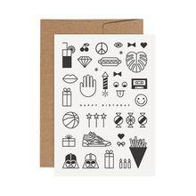 redfries black birthday mix –Letterpress-Klappkarte DIN A6 mit Umschlag