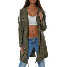 Damen Kapuzen-Pullover Sweatshirt-Jacke Hoodie Mantel (weitere Farben) No 15714, Farbe:Khaki, Größe:One Size