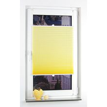 Liedeco® Plissee verspannt mit Klemmträger / 45 x 150 cm lemon yellow (gelb) (Breite x Höhe) / lichtdurchlässig blickdicht und stufenlos verstellbar / leichte Innen-Montage ohne Bohren / 123 montiert / Plissee farbig zum Klemmen fürs Fenster in vielen Farben und Größen / Klemmfix-Plissee als Sichtschutz Blendschutz Sonnenschutz und Fensterdekoration innen / Rollos Falt-Plissee Jalousien Zubehör von Liedeco