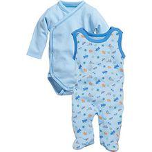 Schnizler Baby - Jungen Strampler Allover, Frühchen, 2-tlg. Set, Langarm Wickelbody, Oeko-Tex Standard 100, Gr. 56, Blau (bleu 17)