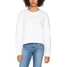 Calvin Klein Jeans Damen Sweatshirt Harper Cn Hwk L/s, Weiß (Bright White 112), Large