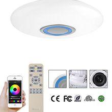 60W RGB LED Deckenleuchte Bluetooth Lautsprecher mit Leistung 20W dimmbar APP/Fernbedienung Weiss&Blau; BT02-60