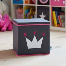 Aufbewahrungsbox mit Deckel Krone grau/pink