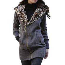 Damen Kapuzen Pullover Leopard Jacke Hoody Hooded Longshirt Sweatjacke Fleece Jacke Leopard Kapuzenpullover Pulli Mantel Herbstjacke Lange Pullover Hoody Zipper Dunkelgrau Schwarz Gelb (Large EU 38-40, Dunkelgrau)