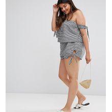 ASOS DESIGN CURVE - Karierte Shorts mit Seitenschleifen - Kombiteil - Mehrfarbig