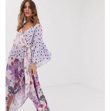 White Sand - Kontrastierend gerüschtes, asymmetrisches Midaxi-Kleid mit mehrfarbigem Blumenmuster - Mehrfarbig