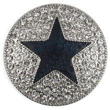 styleBREAKER runder Magnet Schmuck Anhänger für Schals, Tücher oder Ponchos, mit schwarzem Stern und Strass, Damen 05050030, Farbe:Silber / Dunkelblau