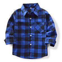 OCHENTA Hemden Jungen Langarm Plaid Kariert Freizeithemd E005 Blau Schwarz Asiatisch 120cm-(De 114cm)