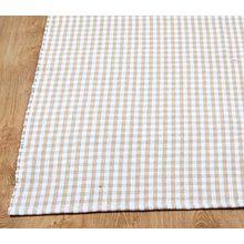 Homescapes Gingham Karo Teppich Vorleger, 60 x 90 cm, 100 % reine Baumwolle, beige und weiß