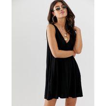 ASOS DESIGN - Ultimate - Swing-Kleid mit verdeckten Taschen - Schwarz
