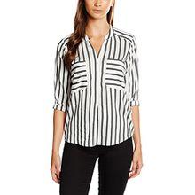 VERO MODA Damen Regular Fit Bluse VMERIKA Stripe 3/4 Shirt E10 NOOS 10168581, Mehrfarbig (Snow White Stripes:Black), Gr. 40 (Herstellergröße: L)