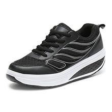 SAGUARO Keilabsatz Plateau Sneaker Mesh Erhöhte Schnürer Sportschuhe Laufschuhe Freizeitschuhe für Damen Schwarz 34 EU