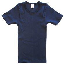 HERMKO 2810 Kinder halbarm Shirt aus 100% Bio-Baumwolle, kurzarm Unterhemd für Mädchen und Knaben, Farbe:marine, Größe:164