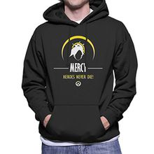 Mercy Heroes Never Die Overwatch Men's Hooded Sweatshirt