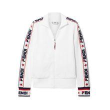 Fendi - Bestickte Trainingsjacke Aus Jersey Aus Einer Baumwollmischung - Weiß