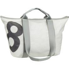 360Grad Handtasche Schlepper Mini Weiß mit grauer Zahl