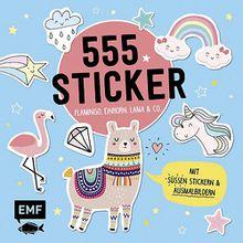 Buch - 555 Sticker: Flamingo, Einhorn, Lama und Co.