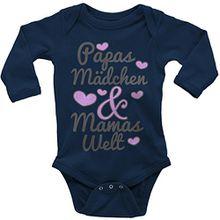 Mikalino Babybody Papas Mädchen & Mamas Welt langarm, Farbe:navy;Grösse:62