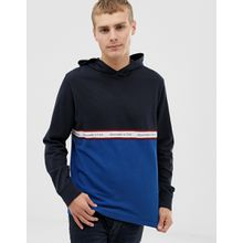 Abercrombie & Fitch - Sweatshirt mit Logo auf der Brust und Zierband in Blockfarben Marine/Blau - Navy