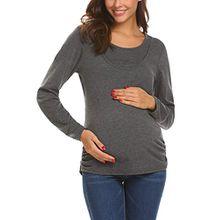 HOTOUCH Damen Schwanger T-Shirt Umstandsmode Stillshirt Umstandsshirt Mutterschaft Bluse mit Rundhalsausschnitt