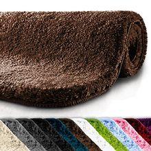 Badematte | kuscheliger Hochflor | rutschfester Badvorleger | viele Größen | zum Set kombinierbar | Öko-Tex 100 zertifiziert | 60x50 cm | Earth Brown (braun)