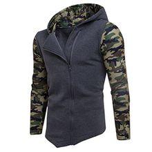 Herren Reißverschluss Camouflage Hoodies,Moonuy Männer Junge Winter Baumwolle Camouflage Persönlichkeit Reißverschluss Hoodie Mit Kapuze Mode Sweatshirt Mantel Jacke Charme Outwear (Dunkelgrau, XL)