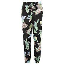 Fresh Made Damen Hose mit tropischem Allover Muster - Bequeme Haremshose mit Gummibund black M