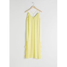 Satin Midi Slip Dress - Yellow