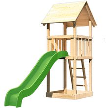 Spielturm Lotti mit Satteldach und Rutsche grün