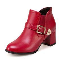SHOWHOW Damen Rund Zehen Blockabsatz Kurzschaft Stiefel Stiefelette Rot 39 EU