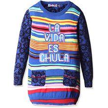 Desigual Mädchen Sweatshirt JERS_EURIPIDES, Blau (Crown Jewel 5150), 164 (Herstellergröße: 13/14)