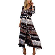 Yavero Boho Maxikleid Blumen Lange Sommerkleider Damen Maxi Strandkleid Casual Langarm V-ausschnitt Kleid Schwarz S