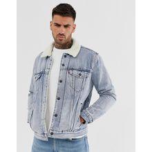 Levi's - Stonebridge - Trucker-Jeansjacke in heller Waschung mit Teddyfell - Blau