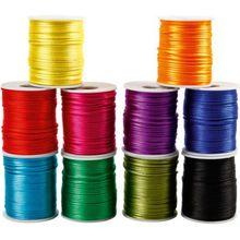 Satinkordel, D: 2 mm, Kräftige Farben, 10x50m