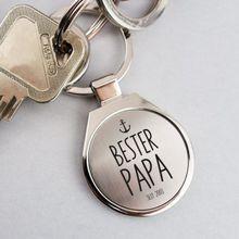 Personalisierbarer Schlüsselanhänger rund Bester Papa mit Datum