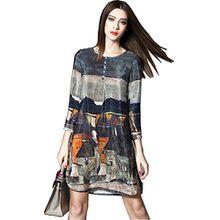 Shineflow Damen Blusen Kleid Grau Grau Gr. L, Grau - Grau