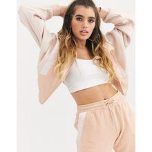 BLFD – Sweatshirt mit mattem und glänzenden Materialmix und Trichterkragen-Rosa