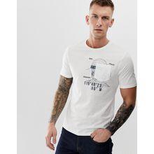 Only & Sons - Weißes T-Shirt mit Grafikdetail an der Tasche - Weiß