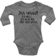 Mikalino Langarm Babybody Jaa Mann!! Ich weiss, ich sehe aus, wie mein Vater schwarz print, Gr?sse:68;Farbe:heather
