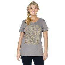 SHEEGO Damen Shirt GR. 44/46 grau Leoprint T-Shirt Übergrößen