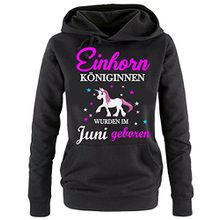 Einhorn Königinnen wurden im Juni geboren ! Damen HOODIE Sweatshirt mit Kapuze SCHWARZ, Gr.M