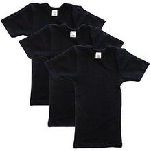 HERMKO 2810 3er Pack Kinder kurzarm Unterhemd für Mädchen + Jungen , Farbe:schwarz, Größe:104