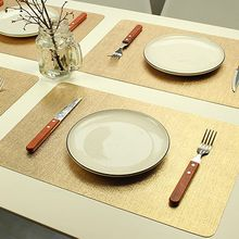 DSZQ 4 x Tischsets * PVC-Verstärkung Rechteckig - Gold