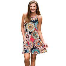 Damen Kleider Xinan Retro Nationale Wind Hals Kleid Lose Strand Tunika kleid Bluse Kleider Strandtunika Sommerkleid (L, Multicolor)