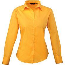 Premier Damen Popeline Bluse / Arbeitshemd, langärmelig 50 DE,Sonnenblumengelb