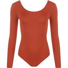 WearAll - Damen body elastisch langarm Bodysuit Top - Rost - 36-38