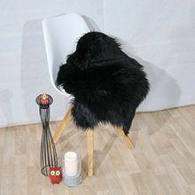 Fell Teppich Schaffell Lammfell Imitat Kunstfell Dekofell MIA bei 30 Grad waschbar aus 100% Polyester (055 x 080 cm Fell, schwarz 040)