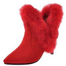 AIYOUMEI Damen Spitz Zehen Kitten Heel Stiefeletten mit 7cm Absatz und Fell Kleiner Absatz Ankle Boots